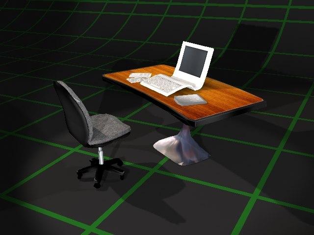 3dsmax sci-fi desk chair