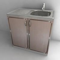3d model kitchen cupboard -sink