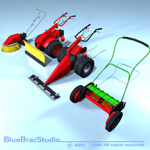 3d c4d mower sweeper