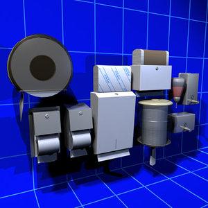restroom accessory 01 towel 3d model