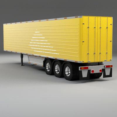 3d model of 52 feet box trailer