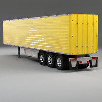 3d model of 52 feet box trailer