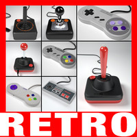retro controllers pack 3d model
