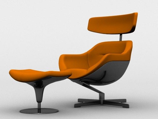 3d cassina auckland 277 chair model