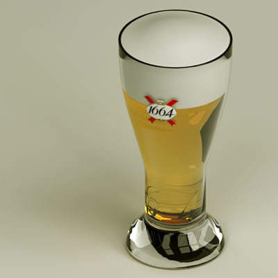 1664 beer glass 3d model