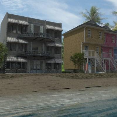 3d beach condo ocean model