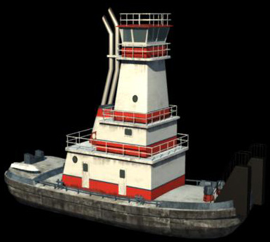 3ds max river tug boat