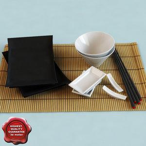 japanese dinner set 3d max