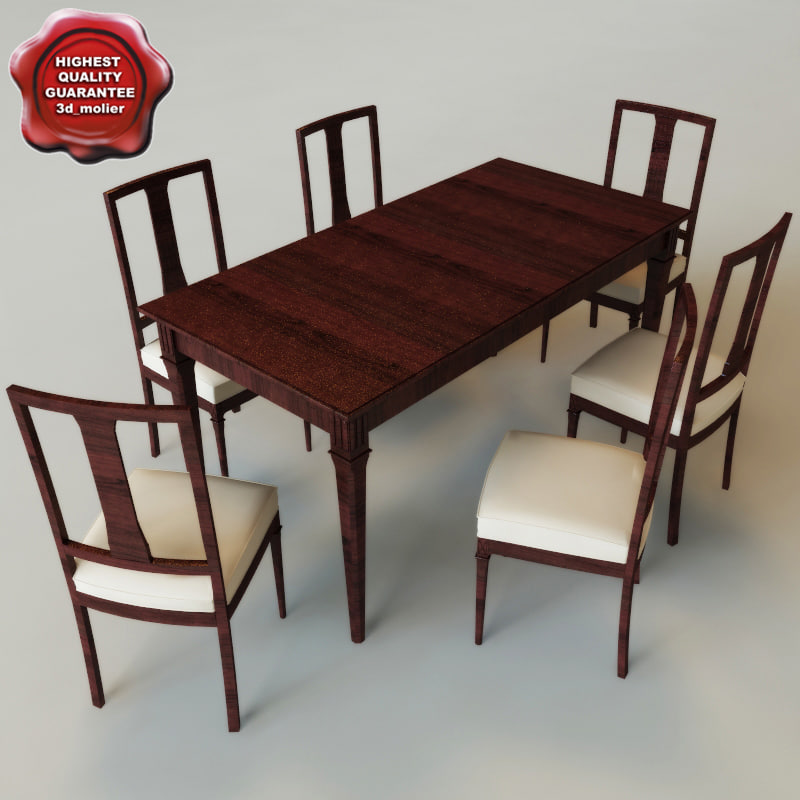 3d dinner table chairs model