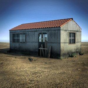 obj scene small abandoned house