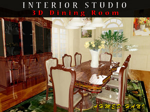3d model classic dining room