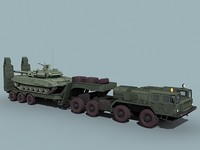 MAZ-7410 Uragan trailer&T-90S