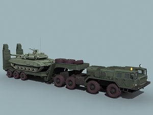 3d model russian t-90s transported maz-7410