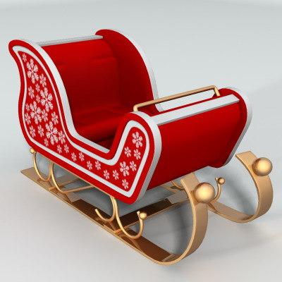 santa claus sledge 3d max
