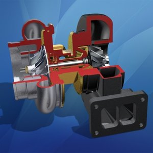 3ds turbocharger cross section engine