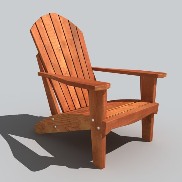 Adirondack chair 3d model for Chair design 3ds max