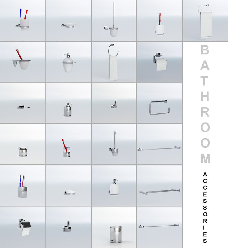 bathroom accessories 3d max