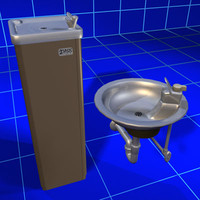 drinking fountain set 02 3d model