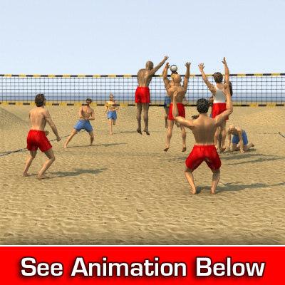 3dsmax sand volleyball poser court