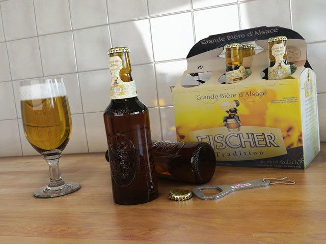 3d bottle beer glass fisher model