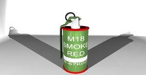 3d m18 smoke grenade model
