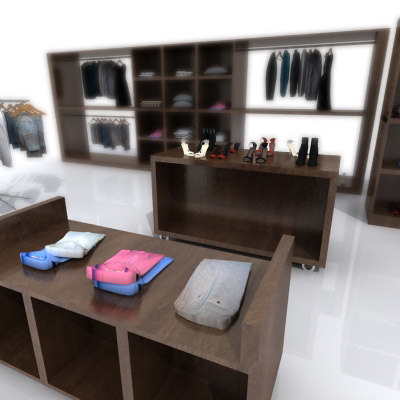 3d model cloths shop shelving