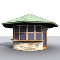 kiosk structure gardens 3d model