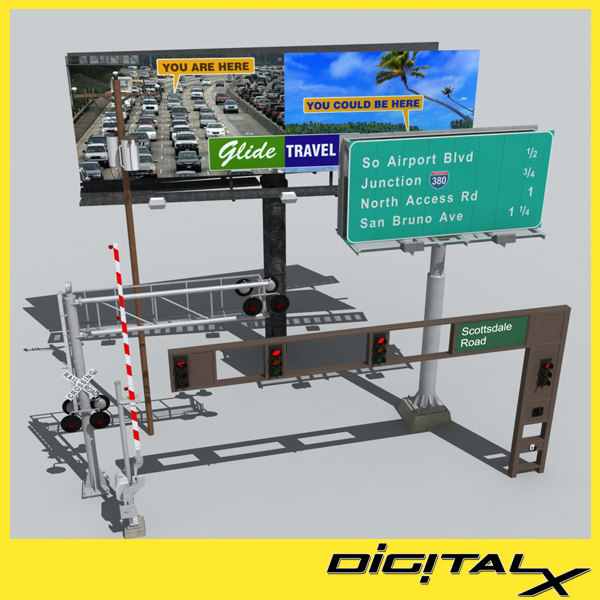 3d traffic billboard signs model