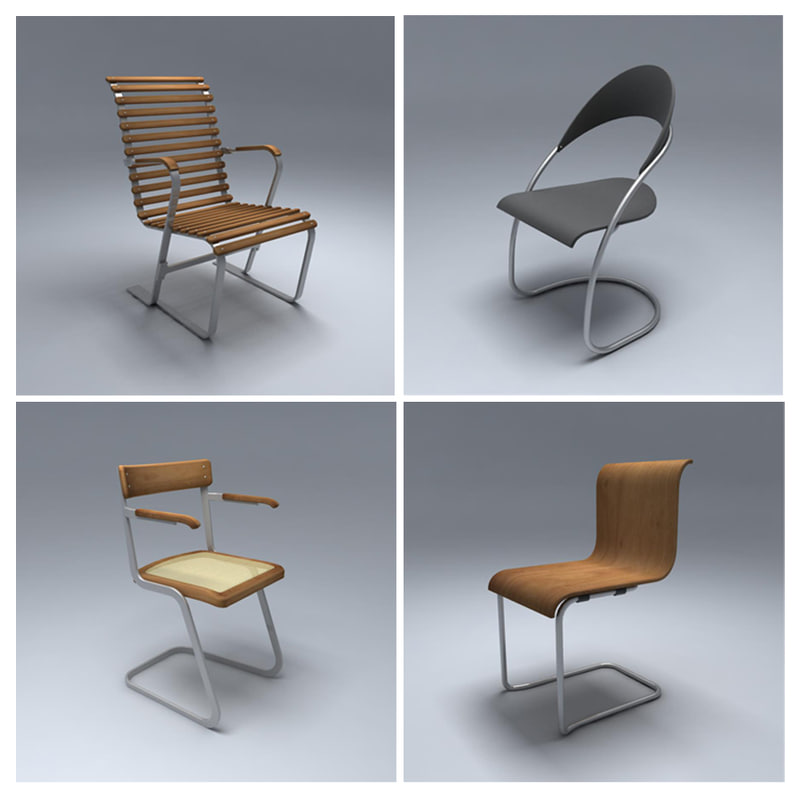 3d model of 1930 chairs
