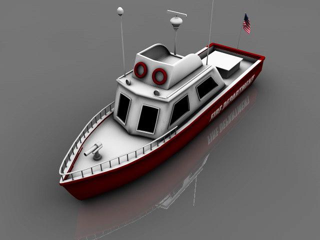3d model fireboat boat