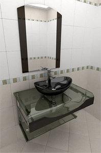 3d max glass wash-basin