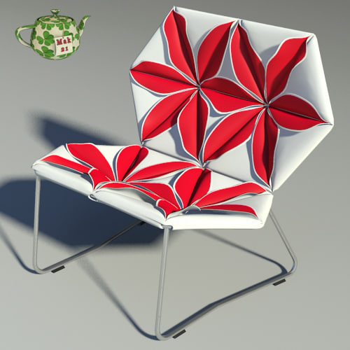 3d antibodi flower chair design model