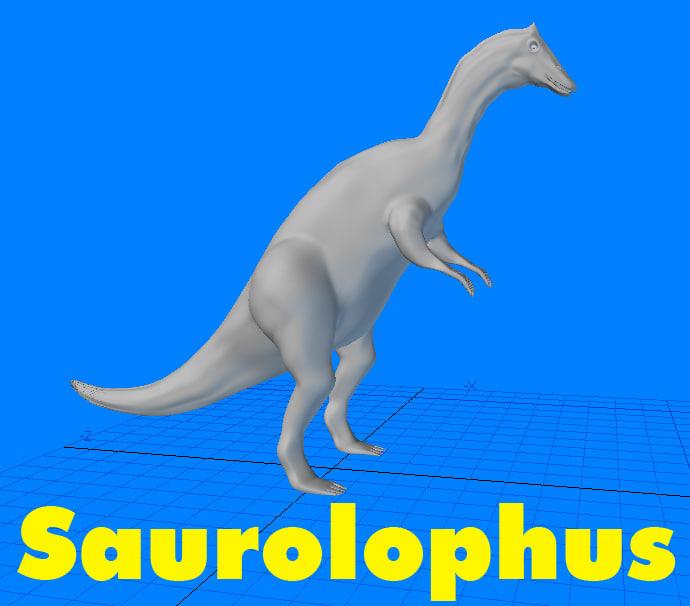 3d saurolophus dinosaur
