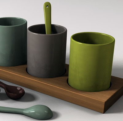coffee cup spoon wood 3d model