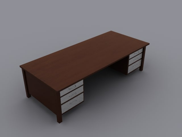 wooden desk wood 3d model