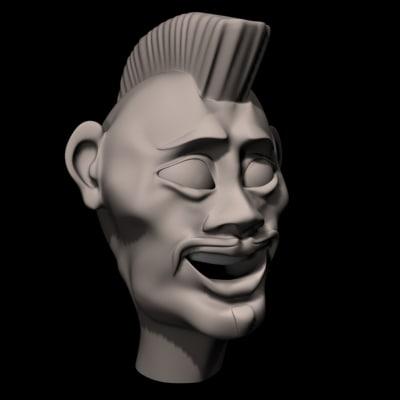 asian punk male 3d model