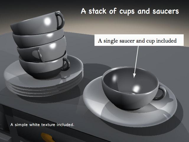 stack cups saucers 3d obj