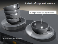 stack cups saucers 3d obj