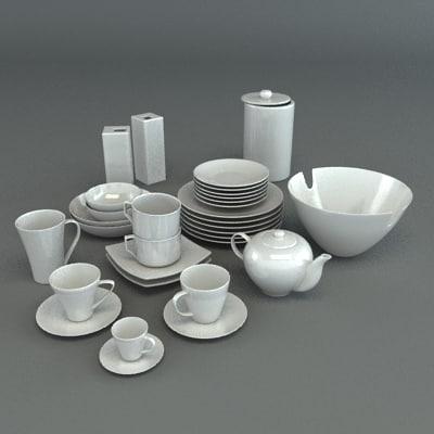 3d model set porcelain tableware