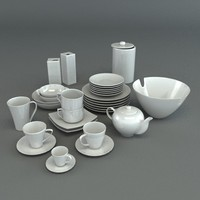 3d model set porcelain tableware