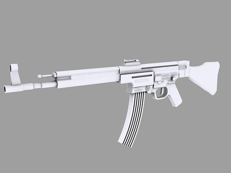 mp44 assault rifle 3d model