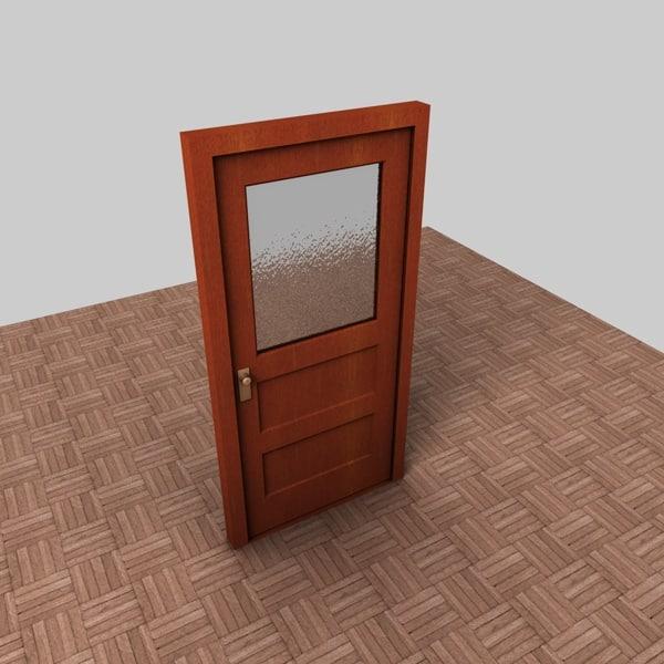 wooden door width glass 3d 3ds