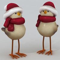 3d model christmas bird decorative