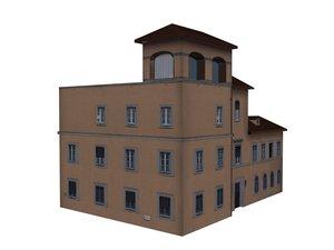 3d structure brown pleasant building model