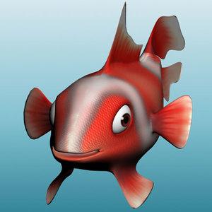 3d model cartoon fish