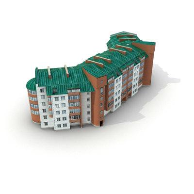 3d model low-poly building 08