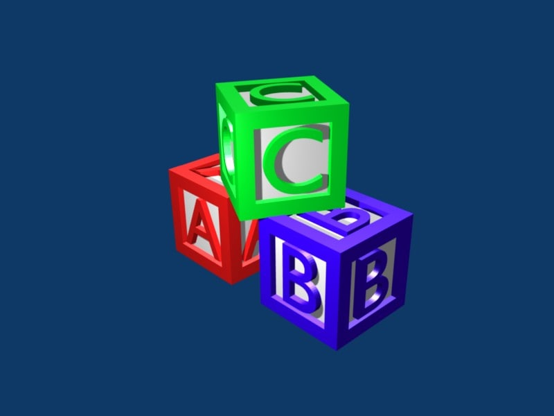 free abc toy dice 3d model