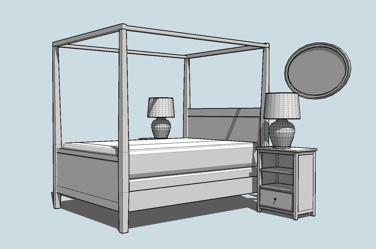 3d model kit contemporary canopy bed