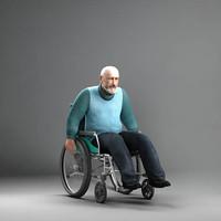 3d axyz man wheelchair 8