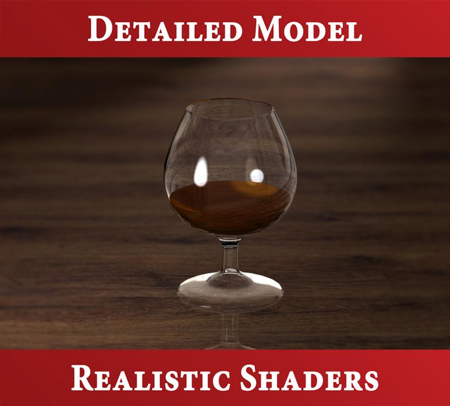 cognac glass liquid 3d model